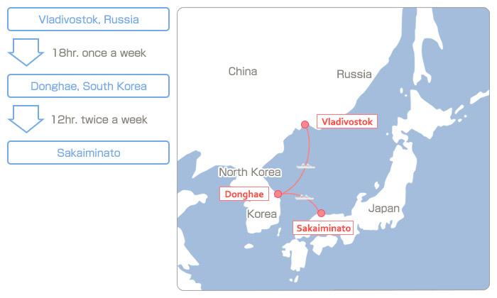 Vladivostok, Russia(18hr. once a week) > Donghae, South Korea(12hr. twice a week) > Sakaiminato